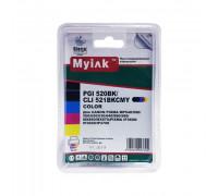 Картриджи заправленные ПЗК (PGI-520Bk,CLI-521BK/C/M/Y) для Canon Pixma iP3600/MP540/620/980, автосброс, 5шт MyInk