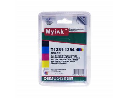 Картриджи заправленные ПЗК (T1281-1284) для Epson St S22/SX120/SX125/SX130, автосброс, 4шт MyInk