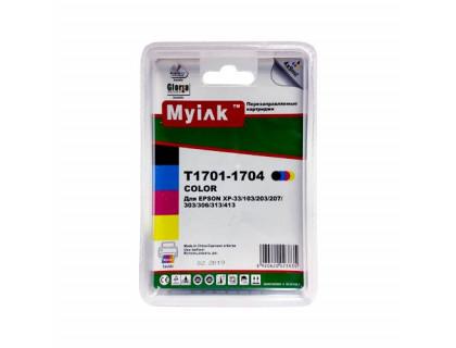 Картриджи заправленные ПЗК (T1701-1704) для Epson Expression Home XP-33/103/203/207/303/306/403/406/313/413 , автосброс,4 шт MyInk