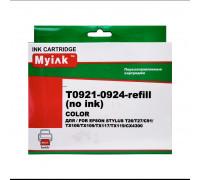 Перезаправляемые картриджи (ПЗК) (БЕЗ ЧЕРНИЛ) для EPSON (T0921-0924) C91, CX4300, T27, TX106, TX109, TX117, TX119 (T0921, T0922, T0923, T0924), 4 шт, с чипами MyInk