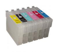 Набор картриджей ПЗК (T0821-0826) для Epson St Photo 270/290/RX590/610/690/T50/TX700/800FW/T59/TX650/TX830 /чип/ 6 шт (БЕЗ ЧЕРНИЛ) Китай