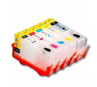 Перезаправляемые картриджи (ПЗК) для HP Photosmart 7510, C5383, D5463, C5380, C310b, C6383, D5460, C410c, C6380, D7560, C309g, C6375, B8550, C309h, C6324, C310a, C309c, C53240 (HP178) 5 шт, с чипами Yuxunda