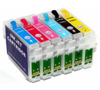 Перезаправляемые картриджи (ПЗК) для Epson (T0821-0826) T50, TX650, T59, RX690, RX610, RX615, RX590, RX650, RX659, TX659, TX700W, TX710W, TX800FW, 1410, R270, R290 с чипами, комплект 6 шт IST